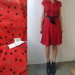 Nougat UK silk red Parisian blouse polka dot dress
